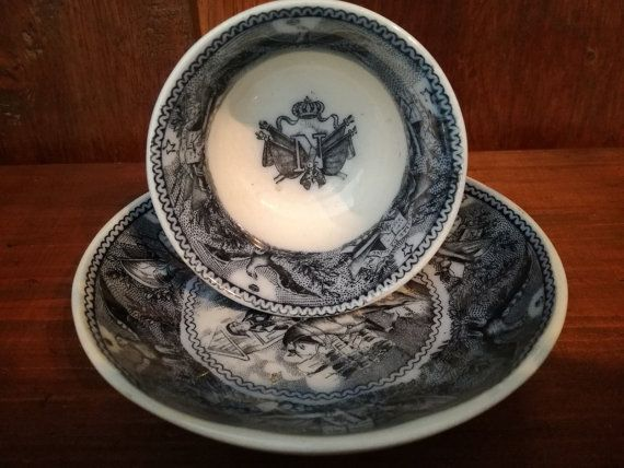 Antique Cup and Saucer NAPOLEON by TheNeroAntiquesShop on Etsy