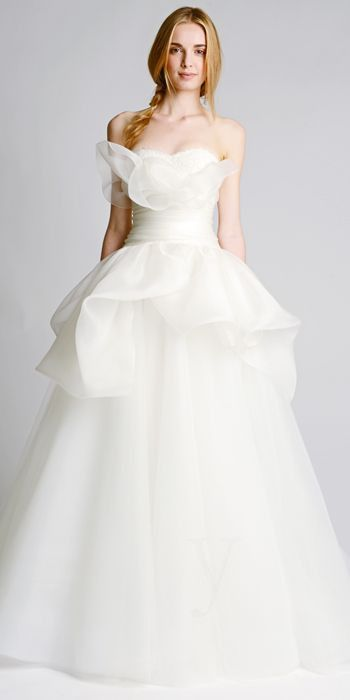 Popular MARCHESA FALL Strapless ballgown with draped organza peplum over full tulle skirt