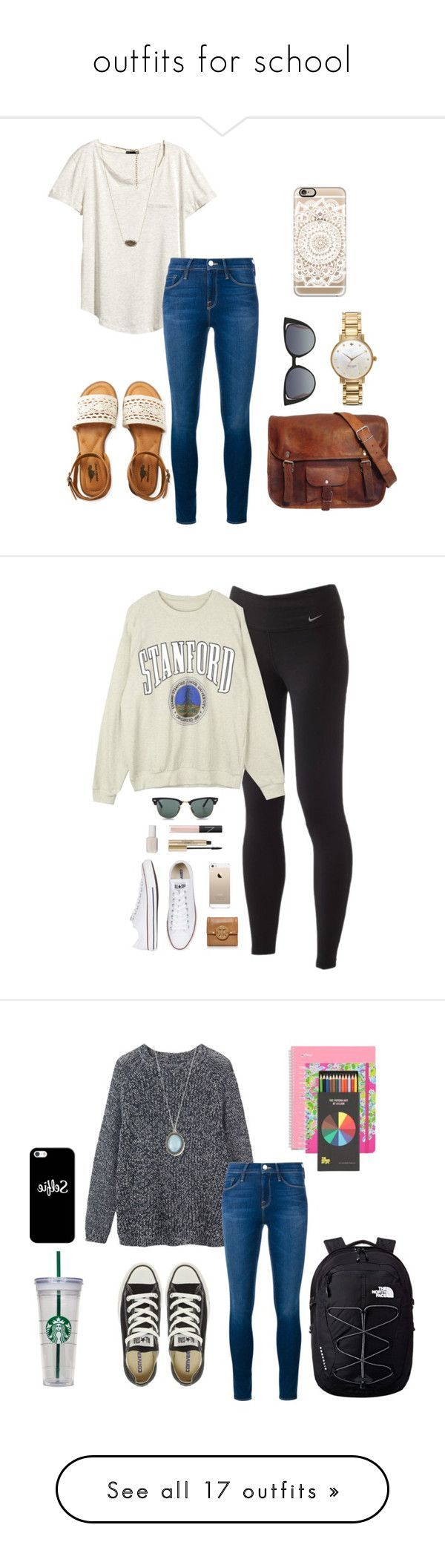 """""""outfits for school"""" by sweatshirt-irwin ❤ liked on Polyvore featuring H&M, Frame Denim, Aéropostale, Kendra Scott, Kate Spade, Fendi, Casetify, NIKE, Converse and Ray-Ban"""