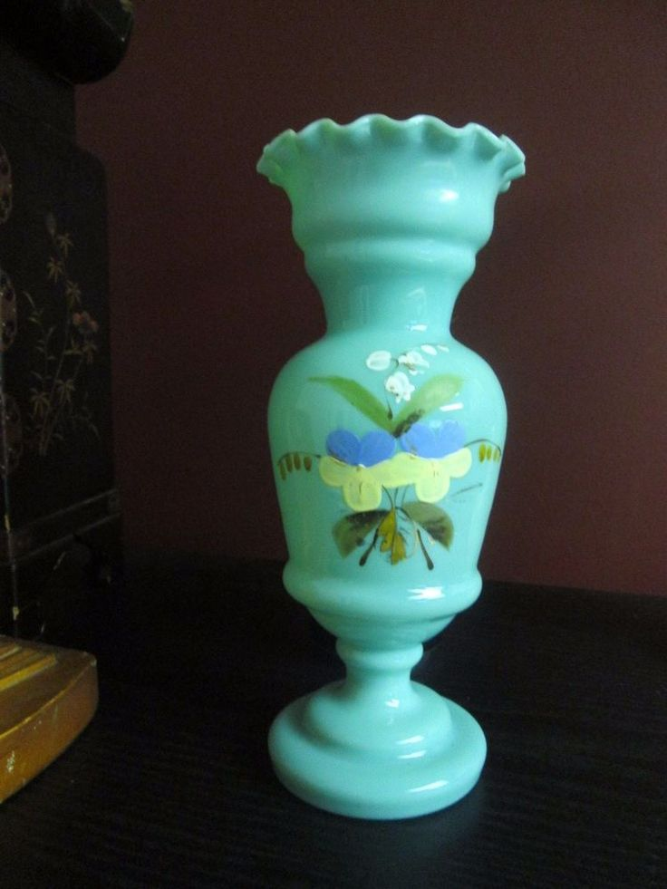 """Victorian Antique TURQUOISE BLUE OPALINE GLASS HYACINTH BULB VASE  8.25"""" 1800's! #Victorian #Unknown"""