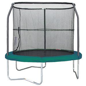 8FT Trampoline With Enclosure + Charcoal Mat - Green