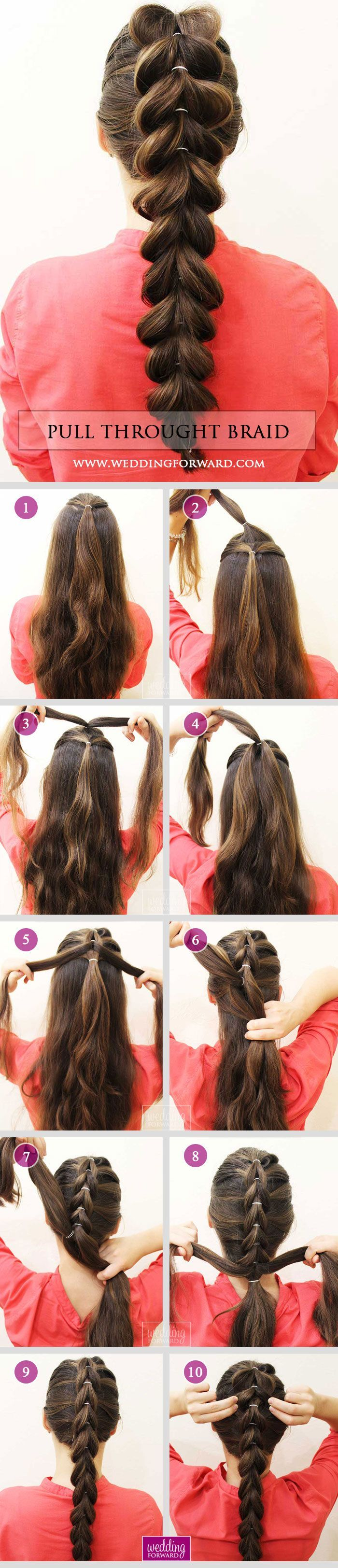 36 Braided Wedding Hair Ideas You Will Love❤️ Stylish Pull Throught Braid at home is very easy! See at this tutorial and DIY step by step with us. viktoria_beaty via Instagram for WeddingForward. See more braided hairstyles here: www.weddingforward.com/ braided-wedding-hair/ #weddings #hairstyles