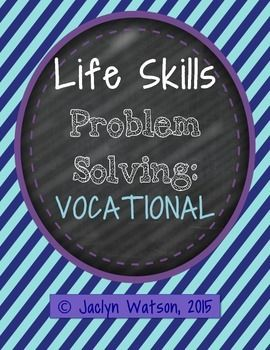 This pack of task cards and worksheet is designed for middle/high school/transition students for practice with functional problem solving for ADLs. These realistic scenarios will allow your students with autism and other challenges to engage in critical thinking and discussion about working!.