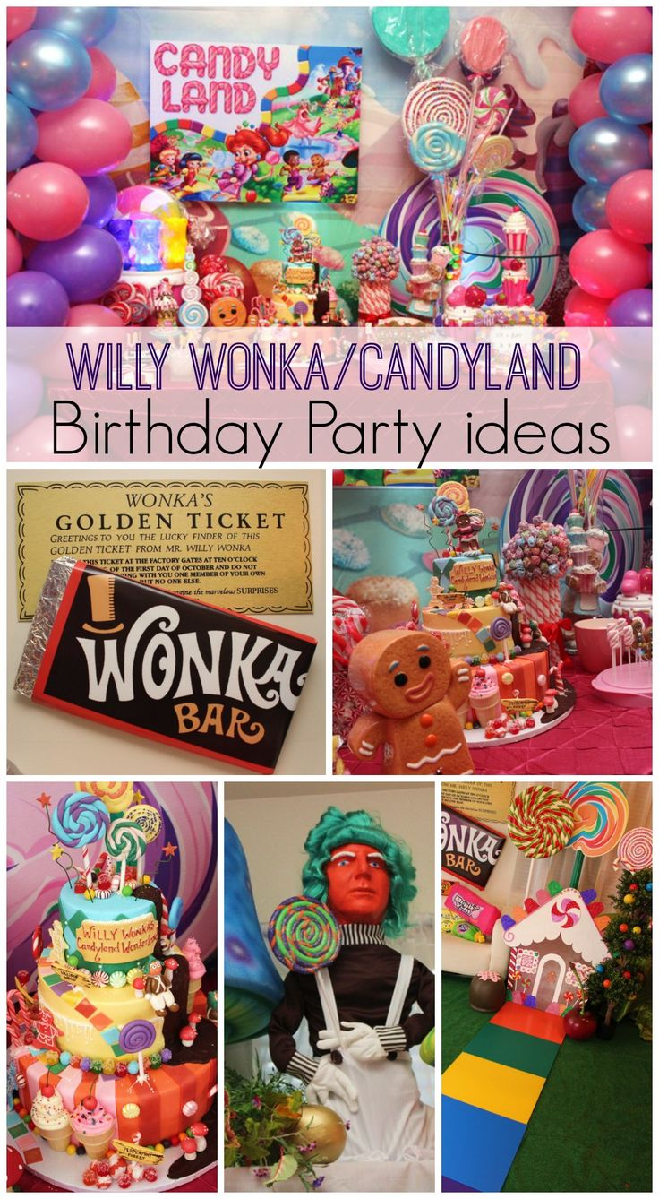 Here's a fun combined Willy Wonka and Candyland birthday party! See more party ideas at CatchMyParty.com. #willywonka #candyland #partyideas