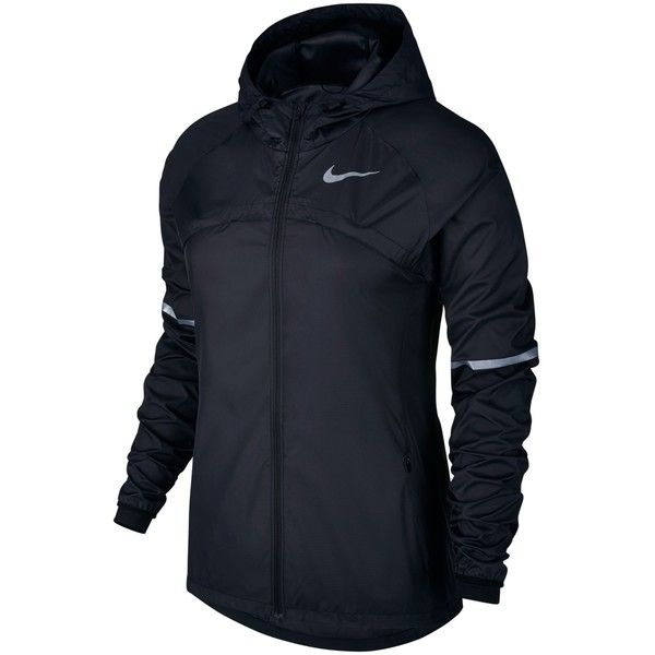 Nike Shield Hooded Women's Running Jacket ($120) ❤ liked on Polyvore featuring activewear, activewear jackets, nike, long sleeve activewear, tail activewear, nike sportswear and nike activewear