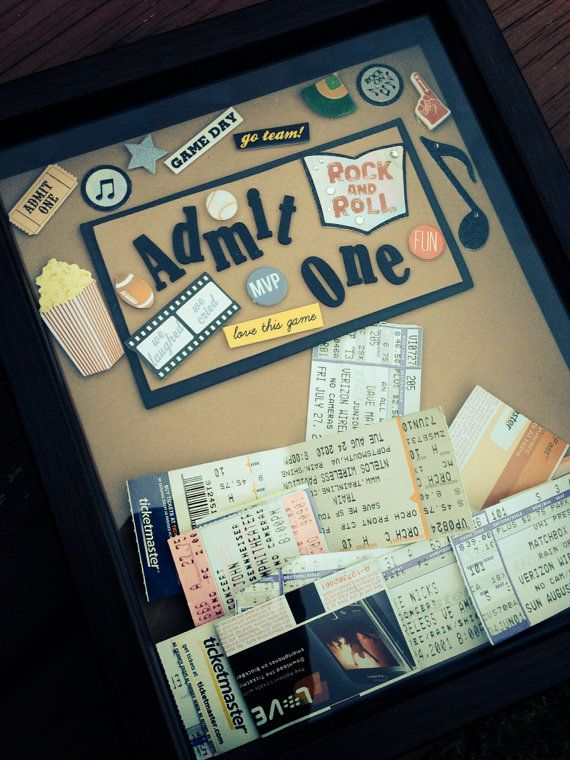 Shadow box for ticket stub collectors by CoastalCalligraphy