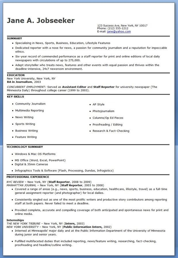 Journalist Resume Examples Resume Examples Office Resume