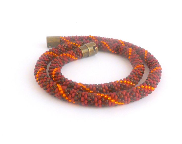 Striped rope necklace in matt red, matt brown and orange colors, bead crochet necklace with safety magnetic clasp, for everyday use by TisziBeads on Etsy