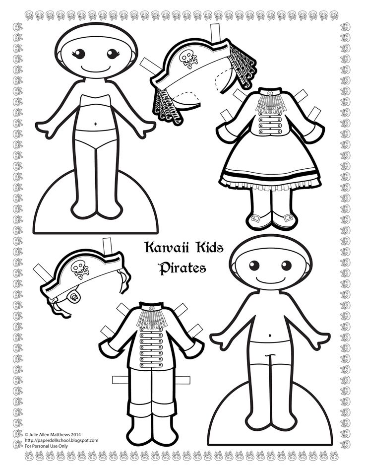 A black and white pirate paper doll to color