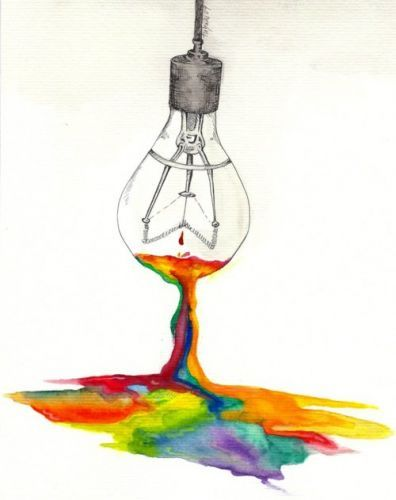 another simple yet meaningful piece of art! uses the bulb as a reference to light and how light constitutes all the colors