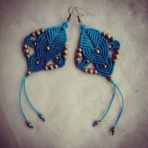 Macrame earrings tribal earrings macrame jewelry boho by QuetzArt