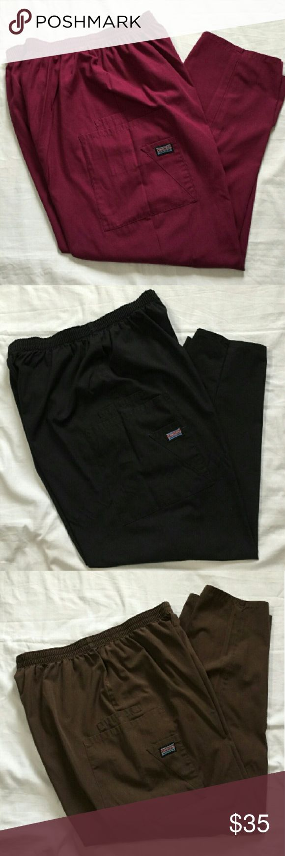 Three Pairs Petite Large Scrub Pants Cherokee brand LP scrub pants in berry, black, and brown. Berry and black were worn once or twice, brown never worn. Price is for them bundled together, but I'm willing to split them up for the right price. Cherokee Pants