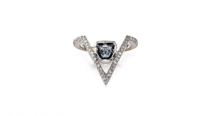 14k White Gold + Diamond Ring Feat. An Ethically Sourced .98ct Sapphire From Tanzania