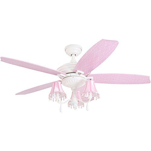 "Prominence Home 41111-01 Addy 48"" Pink Ceiling Fan, Chandelier Lamp Shades Dusty Rose/Blushing Glow Blades, Classic White #Prominence #Home #Addy #Pink #Ceiling #Fan, #Chandelier #Lamp #Shades #Dusty #Rose/Blushing #Glow #Blades, #Classic #White"