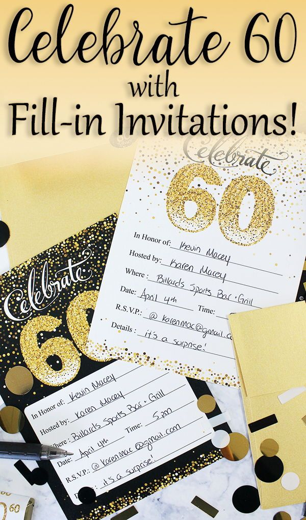 Black And Gold 60th Birthday Party Invitation Cards With