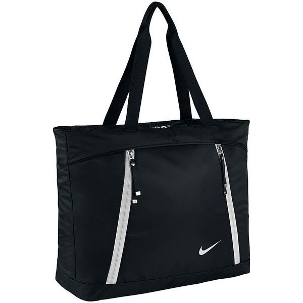 Women's Nike Auralux Gym Tote ($60) ❤ liked on Polyvore featuring bags, handbags, tote bags, black, nylon tote, tote purses, laptop purse, nike tote and nylon handbags