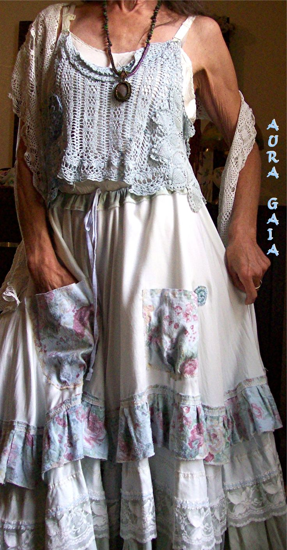 AuraGaia ~ Poorgirl's Goddess of Getting By Creation ~ Petticoat Slip Skirt ~ rustic raggedy tattered romantic shabby ooak
