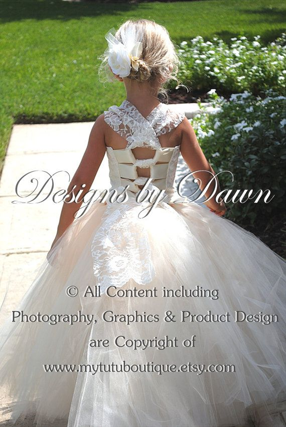 Ivory and Champagne Flower girl dress with lace corset top, detachable train and hair piece. Price up to a size 5t