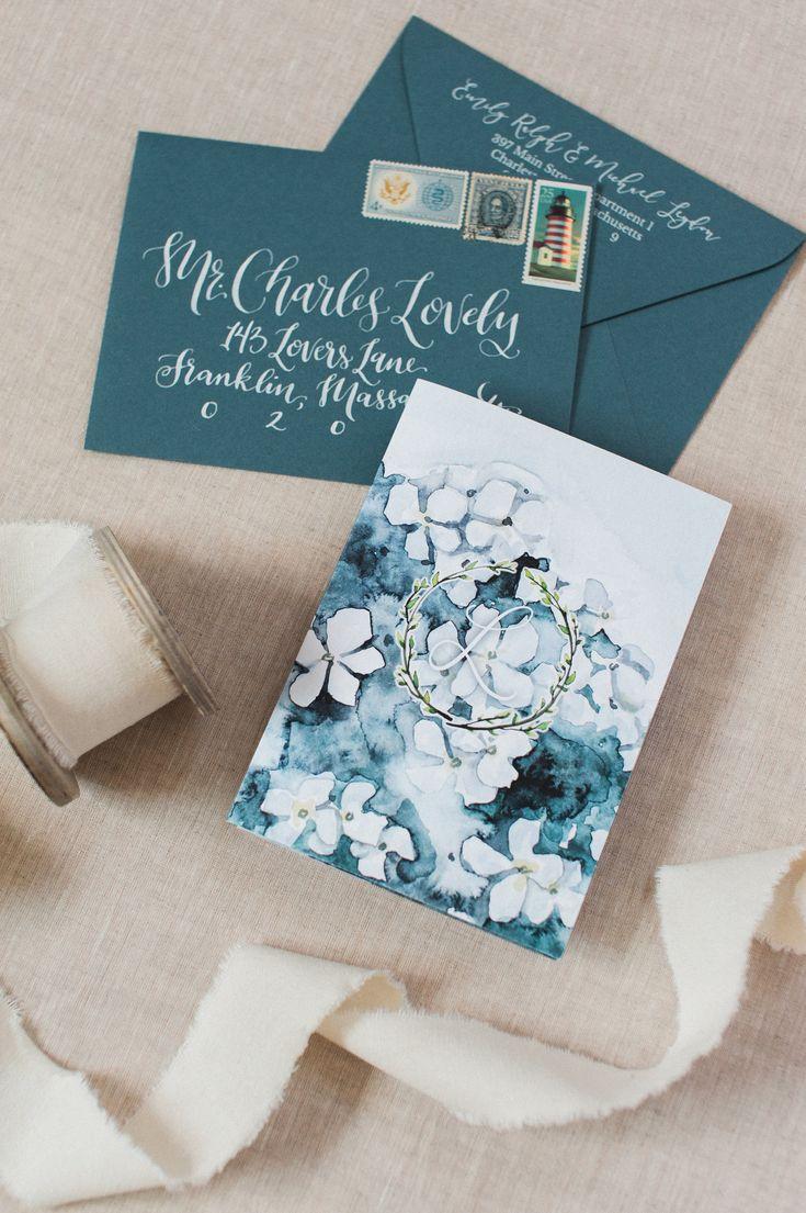 how to return address wedding envelopes%0A Custom watercolor hydrangea wedding invitations  custom designed logo  hand  done calligraphy and white printed return addresses  cape cod wedding
