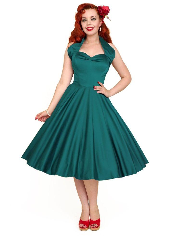 1950s Halterneck Petrol Sateen Dress from Vivien of Holloway