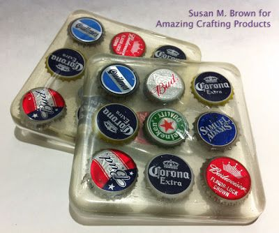 Greencrafted #DIY Handmade Coasters by Susan M. Brown {sbartist} using recycled bottlecaps, Amazing #MoldPutty and Amazing Clear Cast Resin.