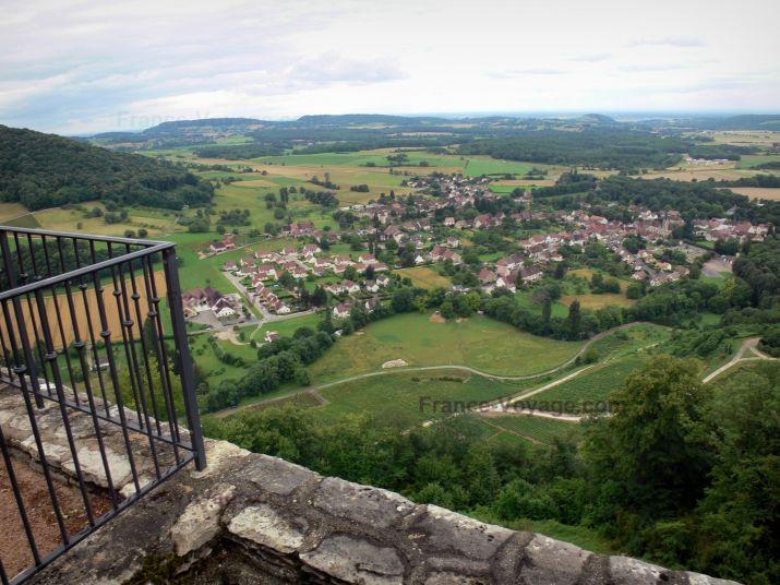 Château-Chalon : Belvédère avec vue (panorama) sur le paysage environnant, le village de Voiteur et les champs de vignes (vignoble jurassien)