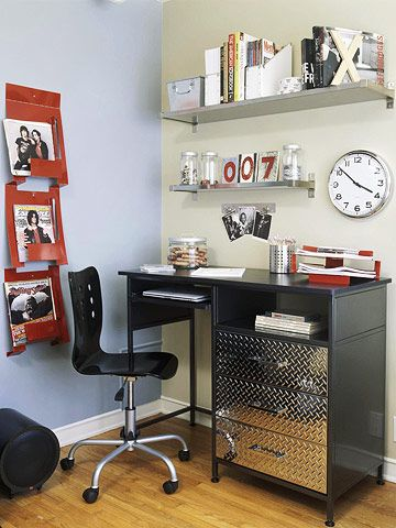 Help your kid want to study with a desk made just for him or her. Take a basic desk and add a tool organizer from a hardware store below for a set of cool drawers. Install shelves in various sizes and magazine holders on the walls for storage.
