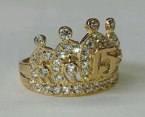 Pesado-14k-Solid-Gold-Dulce-15-Anos-Quinceanera-corona-anillo