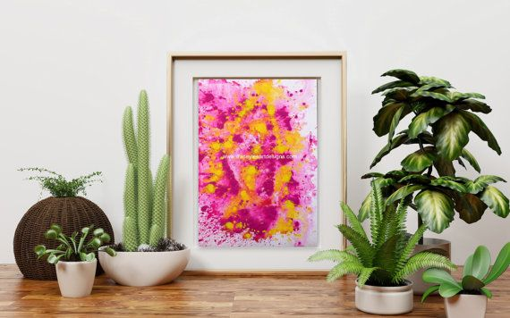 Original abstract painting Pink and Yellow  by Traceyleeartdesigns #art #abstract #painting #originalart