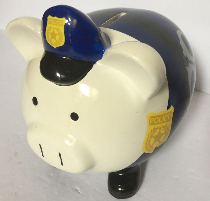 """FAB Starpoint Blue Cop Police Man Officer with Handcuffs Ceramic Piggy Bank 8"""" #FABStarpoint"""