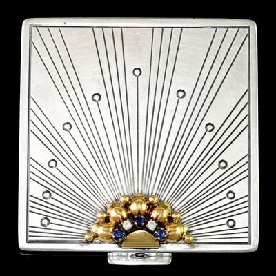 Art Deco Sterling Silver 14k Gold Compact Mirror Diamonds Sapphires | eBay