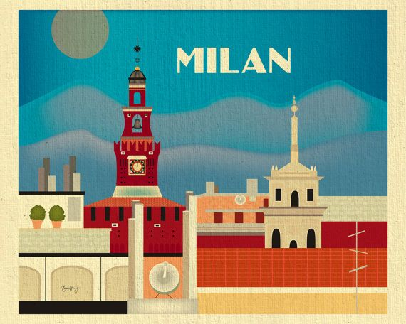 Milan Skyline Print Milan Wall Art Italian Poster by LoosePetals