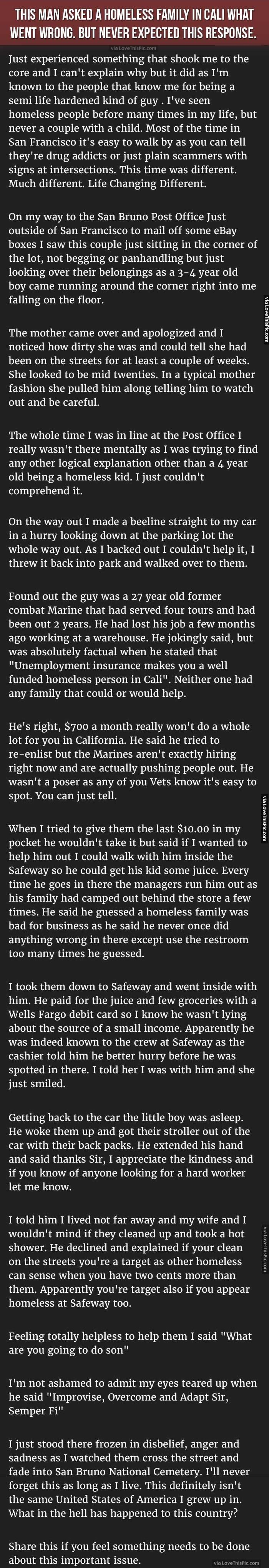 Man Asks Homeless Family What Went Wrong But Never Expected This Response story stories facts interesting change awareness people homelessness