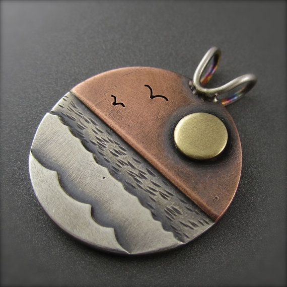 New Day Sunrise Mixed Metal Pendant by BethMillnerJewelry on Etsy diy-d1.blogspot.sg