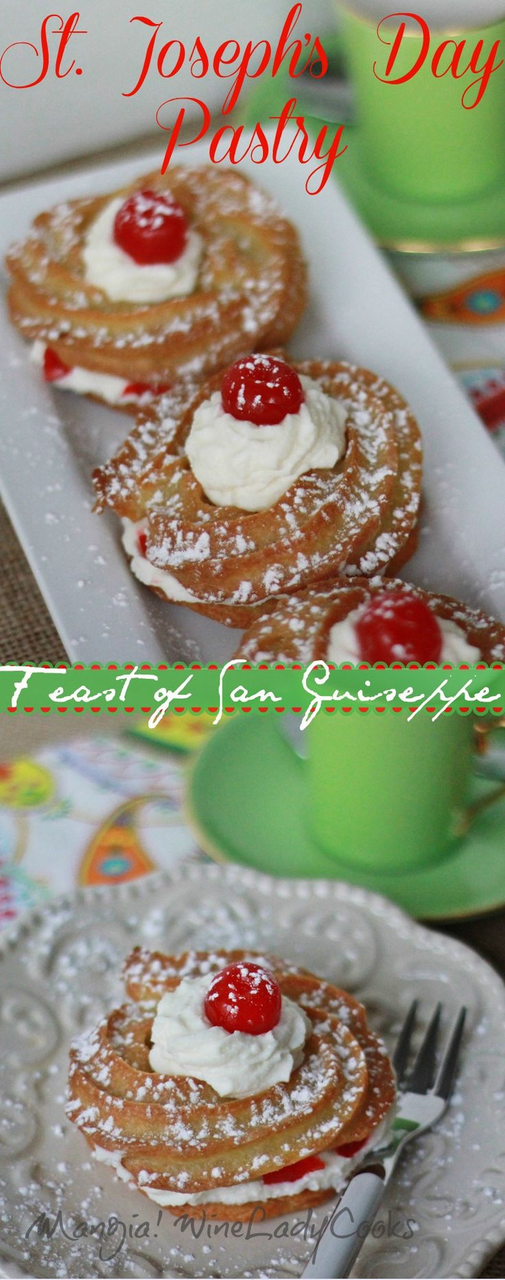 St. Joseph's Day Pastry celebrates the spring Feast of St. Joseph in Italy. Easy recipe click thru for details.