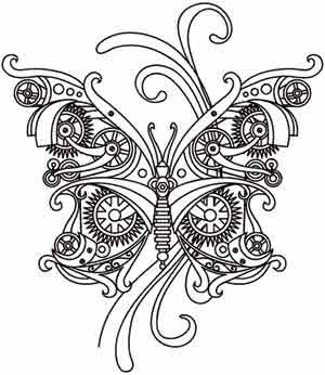 Steam Motifs - Butterfly | Urban Threads: Unique and Awesome Embroidery Designs
