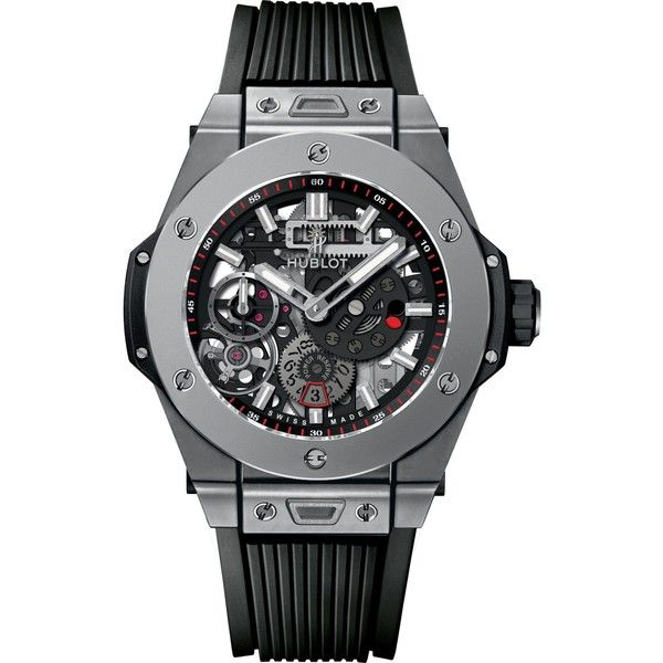 HUBLOT 414.ni.1123.rx meca-10 titanium watch (479.047.120 VND) ❤ liked on Polyvore featuring men's fashion, men's jewelry, men's watches, hublot mens watches, mens titanium watches and mens diamond bezel watches