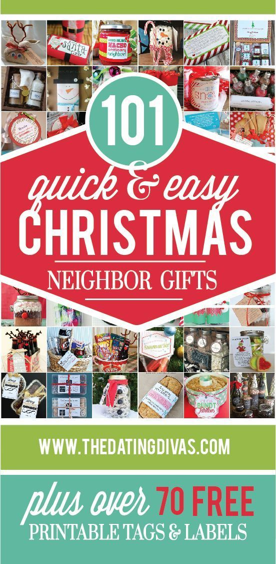 TONS of quick and easy Christmas neighbor gift ideas.  Most come with free printables too!!