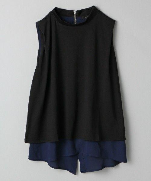 JEANASIS(ジーナシス)のローネックカサネノースリーブ/717211(Tシャツ/カットソー)|ブラック