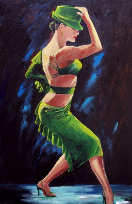 Tango dancer art print on paper, Argentine tango dancer in green dress & hat with dramatic black background, gift under 50, gift for dancer