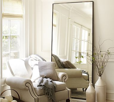 SMITH MASTER BATHROOM:  Oversized Leaning Floor Mirror in antique bronze, 36x78x1 at potterybarn - $799