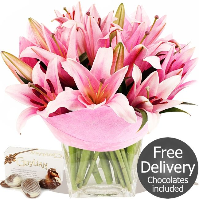 Beauty    Fresh cut pink Oriental Lilies in bud, simply arranged and packed by our florists. This is a popular flowers by post bouquet that won't break even a modest budget. Colours and flower varieties may vary. Vase not included.