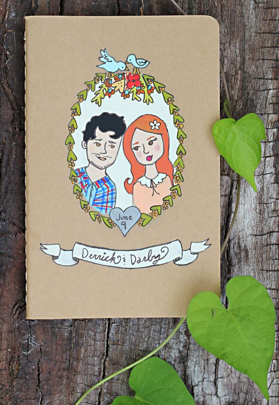 "Personalized Couples Portrait Mini Notebook via ""Willow and Lark"" on Etsy........great for a wedding"