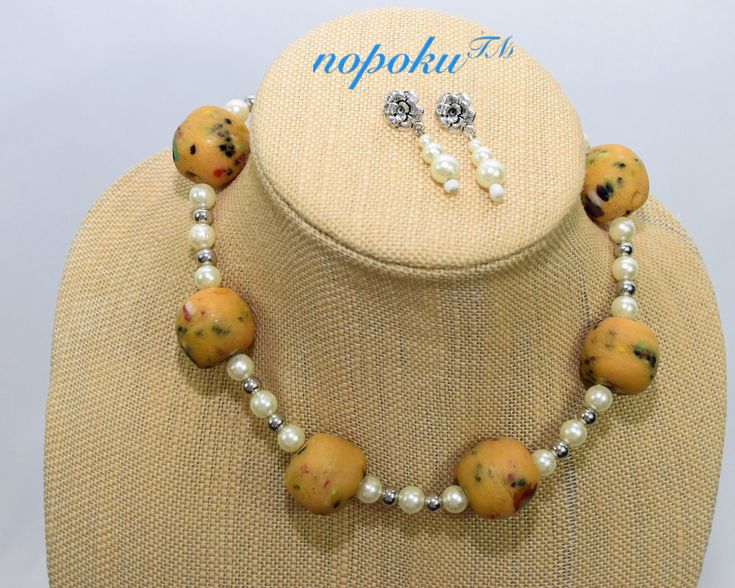 African inspired jewelry, Nopoku, Beaded Jewelry, Jewelry set, Krobo bead jewelry, Pearl Necklace, Choker Necklace, Online Necklace Shop, Statement Jewelry, One of a kind, Unique Jewelry, White earrings, Gift set, Gift for her