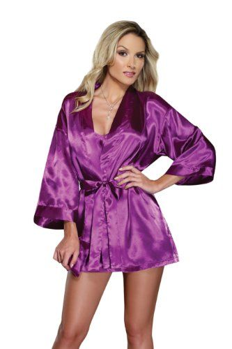 Women's Purple Satin Babydoll PJs