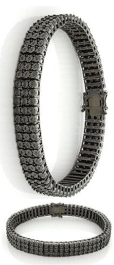 This beautiful Mens 3 Row Black Diamond Bracelet in sterling silver weighs approximately 40 grams and showcases 0.62 carats of round black diamonds. Featuring a trendy design this sterling silver men's diamond bracelet is an affordable alternative to gold jewelry.