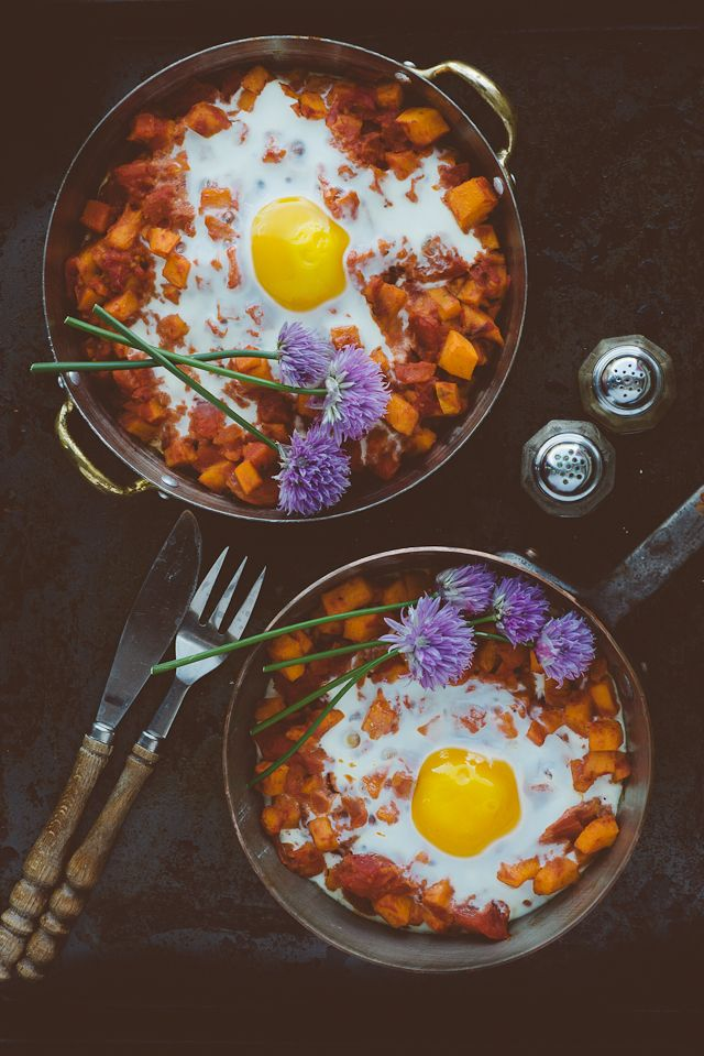 Sweet Potato and Tomato Egg Bake with Chive Flower