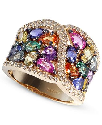 14k Gold Ring, Multicolor Sapphire and Diamond Ring