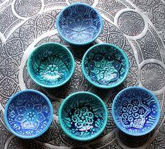 Turquoise Firuze ceramic bowls - 7cm - NOMADIC SON