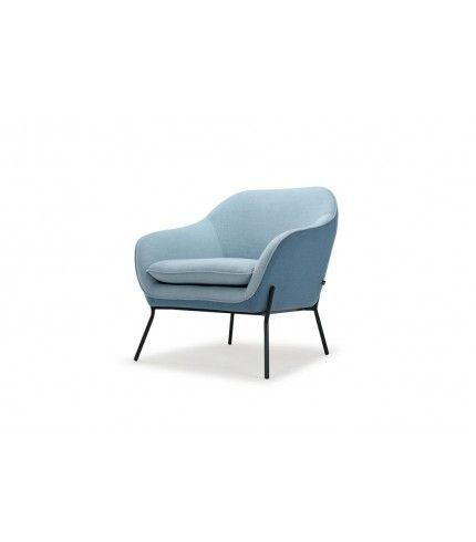 Sonia, Chair, Andie Grey Blue & Dina Dusk Blue, Matte Black Steel Frame & Legs